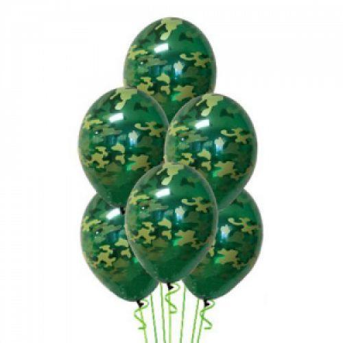 Л. Шар (с рис) (14''/36 см) 23 Февраля - Камуфляж -; Зеленый камуфляж