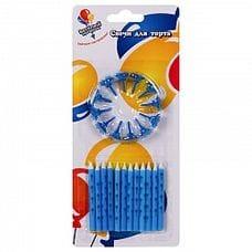 Свечи - В шариках голубые 6см с держателями 12шт.
