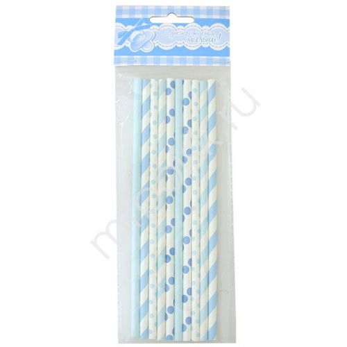 Столовые приборы - Трубочки бумажные голубое ассорти 10шт