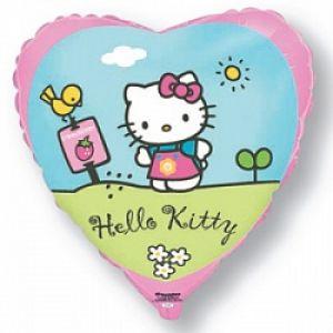 Ф. Сердце (с рис) (18''/46 см) Девочки - Hello Kitty Котенок в саду -; Розовый