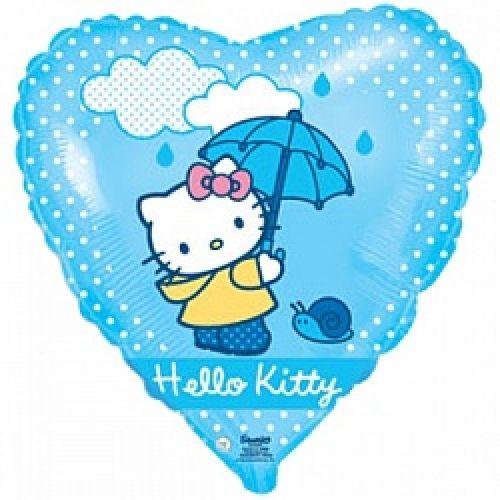 Ф. Сердце (с рис) (18''/46 см) Девочки - Hello Kitty Котенок с зонтиком -; Голубой