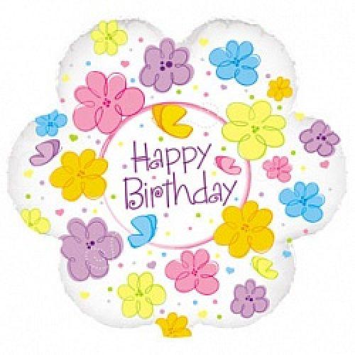 Ф. Круг (с рис) (18''/46 см) С днем рождения - Бабочки и цветы -; Белый