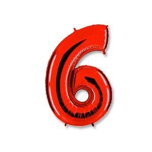 """Ф. Цифра (40''/102 см) Цифры - """"6"""" -; Красный"""