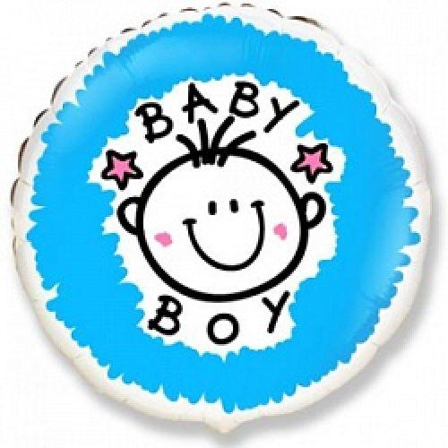 Ф. Круг (с рис) (18''/46 см) Новорожденные мальчики - Малыш-мальчик (Baby Boy) -; Голубой