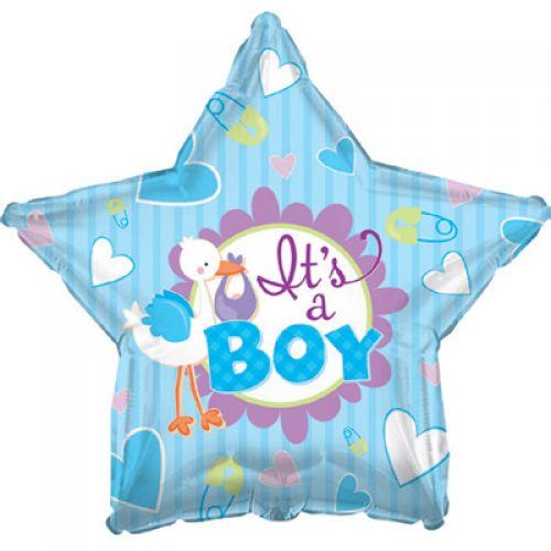 Ф. Звезда (с рис) (18''/46 см) Новорожденные мальчики - Аист принес мальчика -; Голубой