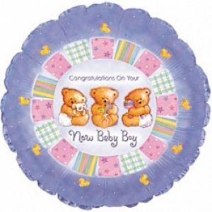 Ф. Круг (с рис) (18''/46 см) Новорожденные мальчики - С рождением мальчика (мишки) -; Сиреневый