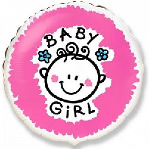 Ф. Круг (с рис) (18''/46 см) Новорожденные девочки - Малышка-девочка (Baby Girl) -; Розовый