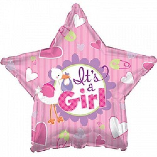 Ф. Звезда (с рис) (18''/46 см) Новорожденные девочки - Аист принес девочку -; Розовый