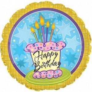 Ф. Круг (с рис) (18''/46 см) С днем рождения - Торт 5 свечей -