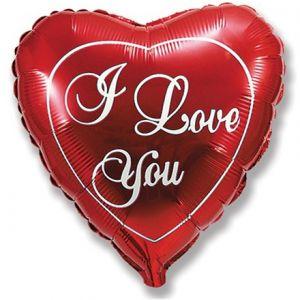 Ф. Сердце (с рис) (18''/46 см) Любовь - Я тебя люблю анг -; Красный
