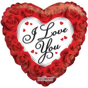 Ф. Сердце (с рис) (18''/46 см) Любовь - Красно-белое сердце -; Красный