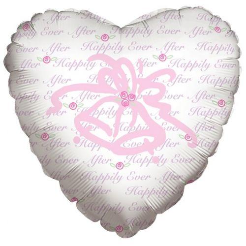 Ф. Сердце (с рис) (18''/46 см) Любовь - Колокольчики -; Белый