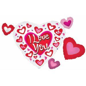 Ф. Фигура (41''/104 см) Любовь - Кластер Сердце в сердечках я люблю тебя -; Красный