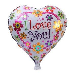 """Ф. Сердце (с рис) (18''/46 см) Любовь - """"I love you"""" в цветах -"""