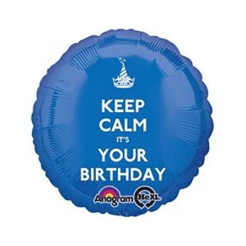 Ф. Круг (с рис) (18''/46 см) С днем рождения - Keep CALM IT'S YOUR Birthday -; Синий