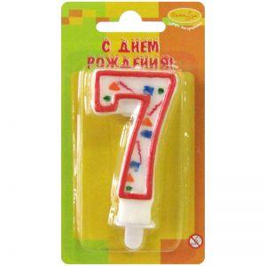 Свечи - Свеча Цифра 7 Красное Конфетти 7см