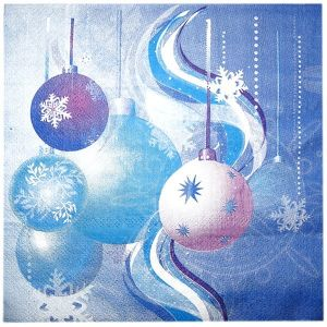 Салфетки - Новый Год Елочные игрушки - Голубые - 20шт