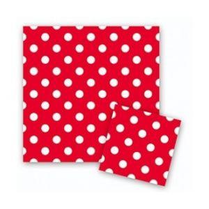 Салфетки - Красные точки, 32*32см, 12шт