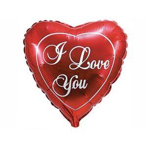 Ф. Сердце (с рис) (32''/81 см) Любовь - Я тебя люблю анг -; Красный
