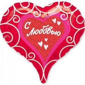 Ф. Сердце (с рис) (18''/46 см) Любовь - С любовью Орнамент -; Красный