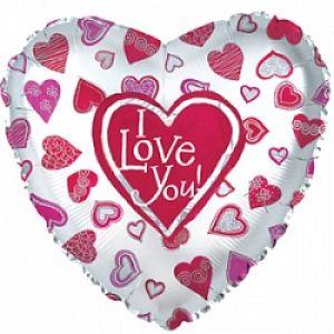 Ф. Сердце (с рис) (31''/79 см) Любовь - Я люблю тебя (много сердец) -; Белый