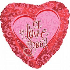 Ф. Сердце (с рис) (18''/46 см) Любовь - Я люблю тебя (кружевное сердце) -; Красный
