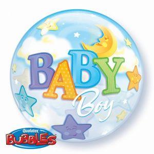 Б. Bubbles (22''/56 см) ВUBBLES - Луна и Звезды мальчик  -; Голубой