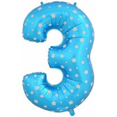 """Ф. Цифры (40''/102 см) Цифры - """"3"""" -; Голубой (со звездами)"""
