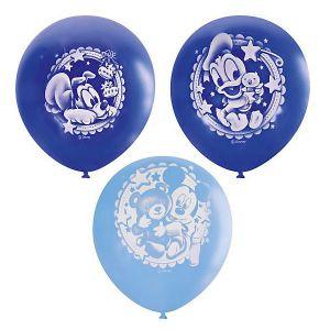 Л. Шар (с рис) (12''/30 см) Новорожденные мальчики - Дисней Малыш -; Ассорти Голубой/Синий; Пастель+