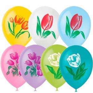 Л. Шар (с рис) (12''/30 см) Цветы1 - Тюльпаны -; Ассорти; Пастель+Декоратор