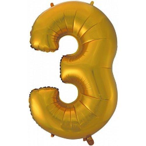 """Ф. Цифра (40''/102 см) Цифры - """"3"""" -; Золото"""