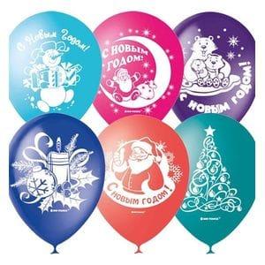 Л. Шар (с рис) (12''/30 см) Новый Год - С Новым Годом -; Ассорти; Пастель+Декоратор