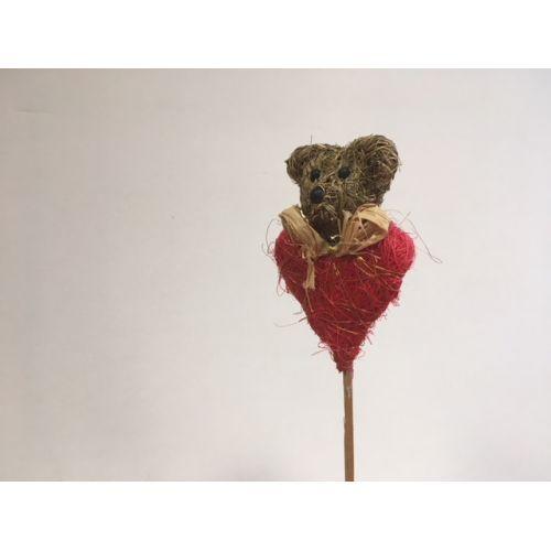 Мишка мини c сердцем на палке
