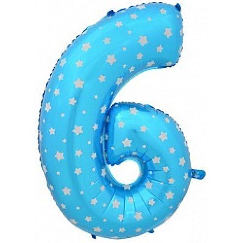 """Ф. Цифры (40''/102 см) Цифры - """"6"""" / """"9"""" -; Голубой (со звездами)"""