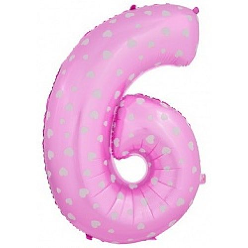 "Ф. Цифры (40''/102 см) Цифры - ""6"" -; Розовая (со сердечками)"