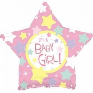 Ф. Звезда (с рис) (18''/46 см) Новорожденные девочки - С рождением девочки -; Розовый