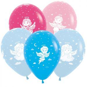 Л. Шар (с рис) (12''/30 см) Новорожденные мальчики - Ангелы (4 Дизайна) -; Ассорти