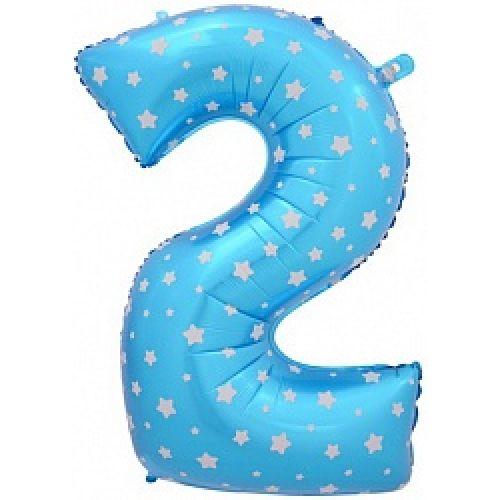"""Ф. Цифры (40''/102 см) Цифры - """"2"""" -; Голубой (со звездами)"""