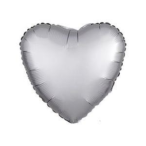 Ф. Сердце (без рис) (18''/46 см) Аэродизайн - Сатин Platinum -; Платиновое серебро