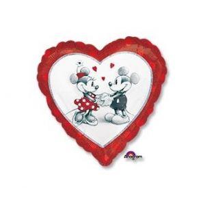Ф. Сердце (с рис) (18''/46 см) Любовь - Микки и Минни влюбл гологр -