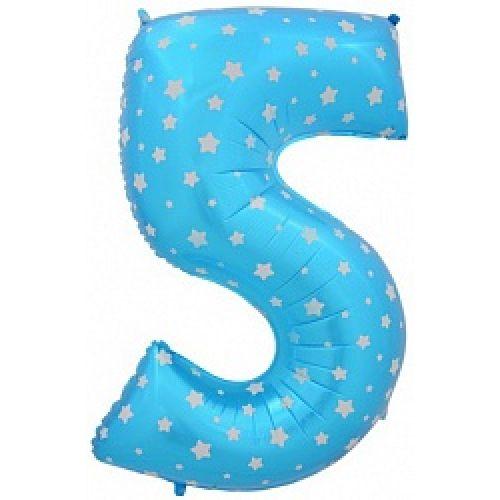 """Ф. Цифра (40''/102 см) Цифры - """"5"""" -; Голубой (со звездами)"""