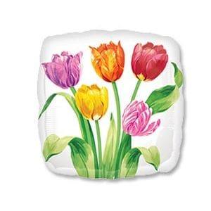 Ф. Квадрат (18''/46 см) 8 Марта - Тюльпаны на белом фоне -; Белый