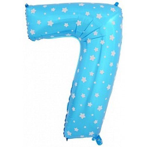 """Ф. Цифра (40''/102 см) Цифры - """"7"""" -; Голубой (со звездами)"""