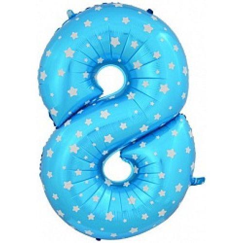 """Ф. Цифра (40''/102 см) Цифры - """"8"""" -; Голубой (со звездами)"""