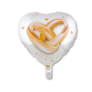 Ф. Сердце (с рис) (18''/46 см) Свадьба - Свадьба кольца -; Белый