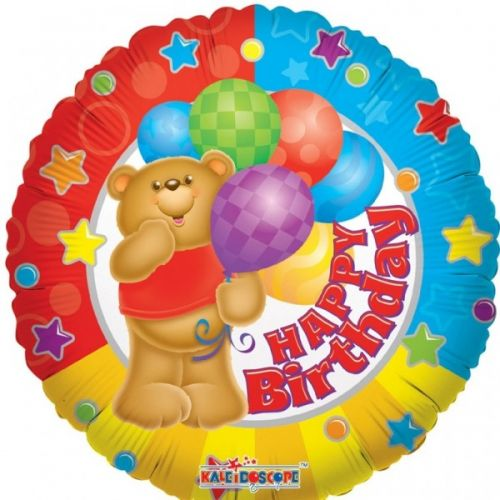 Ф. Круг (с рис) (18''/46 см) С днем рождения - Медведь с шариками -