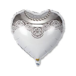 Ф. Сердце (с рис) (18''/46 см) Свадьба - РУС Невеста -; Белый