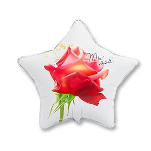 Ф. Звезда (с рис) (18''/46 см) Любовь - РУС ТЫ МОЯ -; Белый