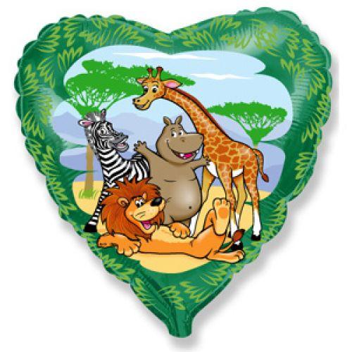 Ф. Сердце (с рис) (18''/46 см) Животные - Друзья в джунглях -