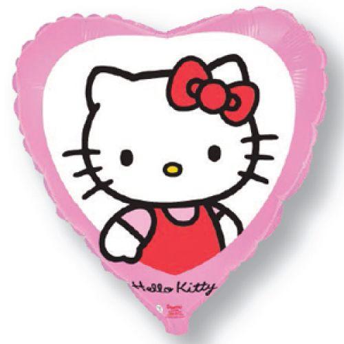 Ф. Сердце (с рис) (18''/46 см) Девочки - Hello Kitty Котенок с бантиком -; Розовый